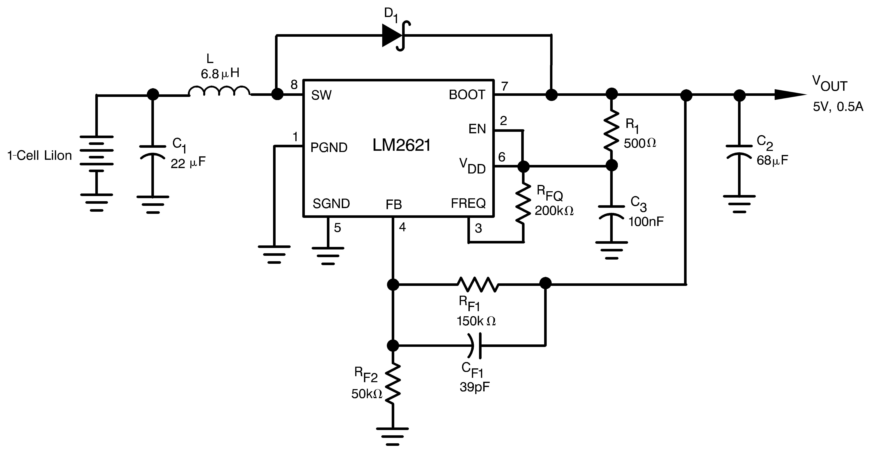 LM2621-转换器(集成开关)-DC/DC开关稳压器-电源管理